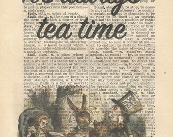 Alice in wonderland vintage print it's always tea time mad hatter