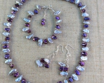 Purple and lilac Keshi Pearl Necklace, bracelet and earring set