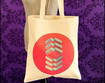Red Geometric Tote Handbag, One of a Kind Tote, Beach Tote, Shopping Bag, 15.5x14.5