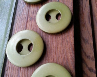 Retro Green Buttons. Vintage Buttons. Large Buttons.