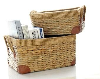 Vintage straw baskets/Large Storage Basket /Utility Basket/ Straw Basket/Laundry Baskets/wedding gift/Country decor/GrasShanghai