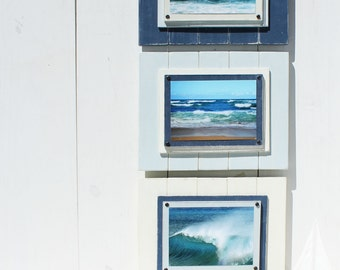 Beach Wall Art - Wood Plank Frames - Wooden Picture Frames - Set of 3 Beach decor - Beach Wall Decor - Cottage Picture Frames - Coastal Deco