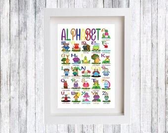English Alphabet Poster, Alphabet print, Nursery, Children, Animal ABC, Nursery Room, Kidsroom, Gift, Illustration