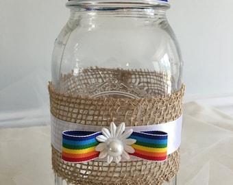 Gay Pride Mason Jar Vase, Gay Wedding Centerpiece Decor