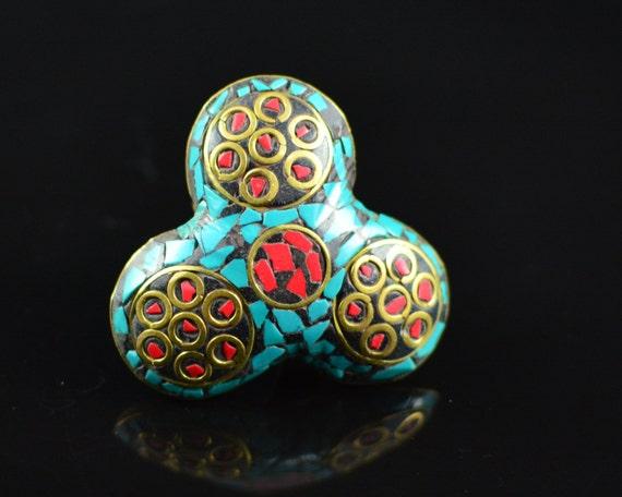 Nepali Ring Handmade Tibetan Rings Turquoise Stone Ring