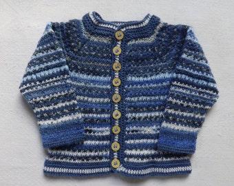 Baby boy jacket Knit baby jacket size 6-9 months Baby shower Knit striped jacket blue/light blue/white colour