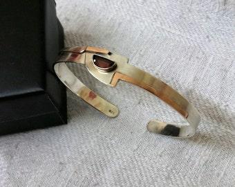 925 Silver Bangle cuff with tourmaline SA211