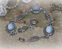 Luna - Vintage Moonstone & Sterling Silver AMCO Filigree Bracelet - Estate Heirloom Jewelry - My Mary Grace