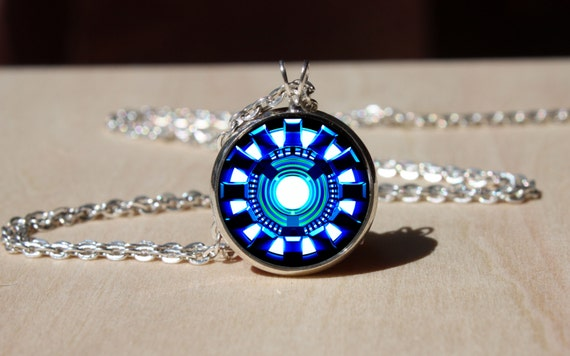 handmade iron man necklace arc reactor glass dome pendant
