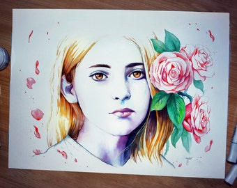 Original painting - Primrose Everdeen - Hunger Games inspired painting - Willow Shields - by Jonas Joedicke