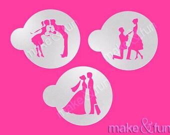 3 pcs Wedding Cake Stencil, Cookie Stencil, Engagement Stencil (Product Code LC021)