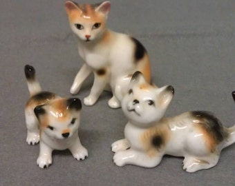 Cat Family of 3 Spotted Cats  Bone China Figurines