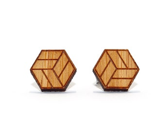 Jenga Box Earrings - Etched Bamboo, Box Stud Earrings, Cube Earrings, Wooden Earrings, Bamboo Earrings, Geometric Earrings, Eco Earrings
