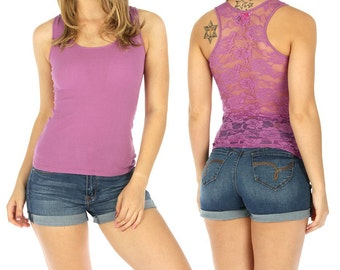 Many Colors! Lace Back Racerback Spring Tank Top