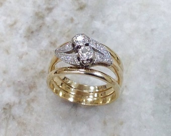 Diamond Ring,Vintage Diamond Ring,You and Me Diamond Ring,2 Stone Engagement Ring,14k Diamond Engagement Ring,2 Stone Diamond Ring