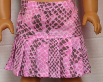 Pink Snakeskin Print Pleated Skirt - American Girl Doll Clothes
