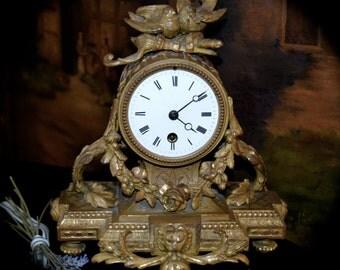 Antique French Bronze Mantel Clock  c.1855 Beautifully Ornate   Sku: C273