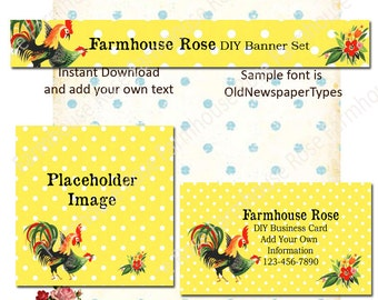 Retro Chicken 5 Piece DIY Shop Banner Avatar and Business Card Graphics Set Instant Download