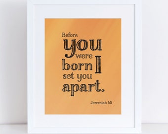 Jeremiah 1:5 Scripture Orange Wall Art Instant Download 8x10