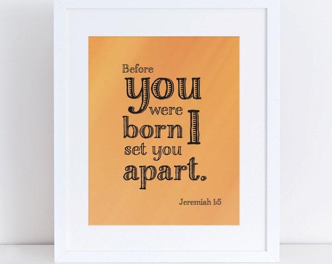 Jeremiah 1:5 Scripture Orange Wall Art Instant Download 8x10