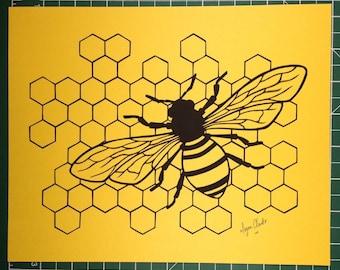 Honey Bee Original Hand-Cut Paper Artwork
