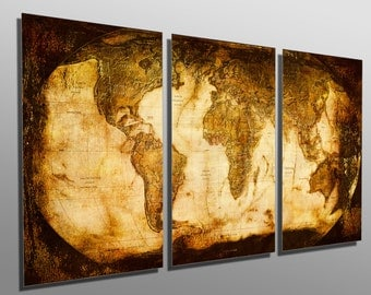 Multi panel wall art etsy metal prints rustic world map 3 panel split triptych multi panel gumiabroncs Image collections