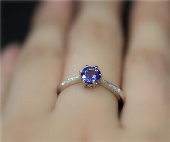 Natural Tanzanite Engagement Ring 6mm Round Natural Tanzanite Wedding Ring Solid 14K White Gold Ring PromiseRing Anniversary Ring BridalRing