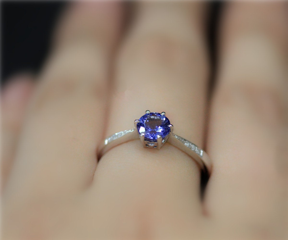 natural tanzanite engagement ring 6mm round natural tanzanite. Black Bedroom Furniture Sets. Home Design Ideas