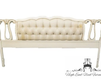 LINK TAYLOR King White & Gold French Provincial Tufted Upholstery Headboard 8404