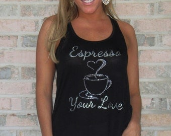 Espresso Your Love rhinestone flowy tank