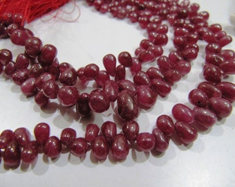 Genuine and Natural Ruby Drops beads Size 3 x4mm to 6x9mm, Plain Ruby Beads Strand approx 8 inch with approx 65 to 70 beads, High quality