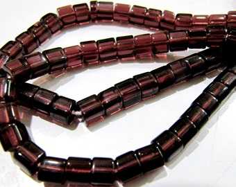 AAA Quality Rodolite Garnet Color Smooth Box Beads / 5mm Size Plain Cube Shape Beads / Strand 10 inch long / 55 to 60 Beads per Strand