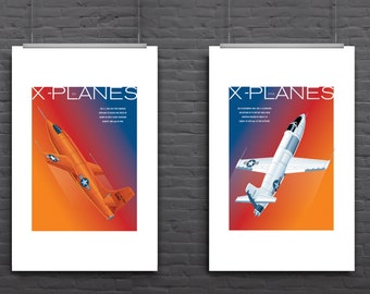 Retro print aircraft: X-Planes, pair of graphic illustrated aircraft posters