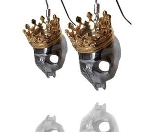 Skull crowned - Crown - skull-earrings - rhinestone iuminous - gold - silver - nickel - removable earrings