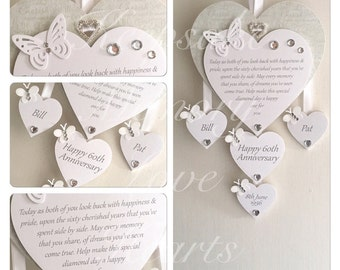 60th Diamond anniversary gift personalised wooden keespake heart