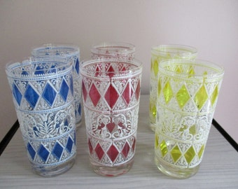Set of 6 Vintage Enameled Glass Tumblers 1960s
