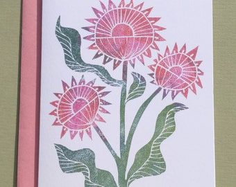 Pink Sunflower Note Card