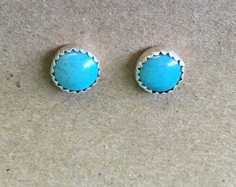 Turquoise Round Stud Earrings - Sterling Silver 8mm