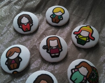 Hand covered Firefly / Serenity inspired fabric buttons 38mm