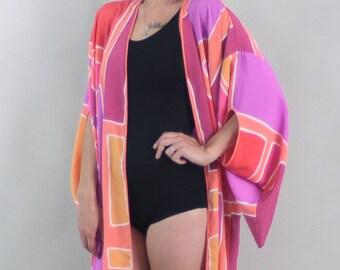 1970s BEACH KIMONO   Vintage 70s GEOMETRIC Jewel Cover Up Robe   one size