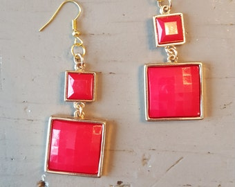 Retro Hot Pink Square Earrings