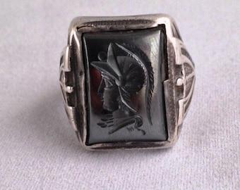 Sterling Silver Hematite Intaglio Men's Ring