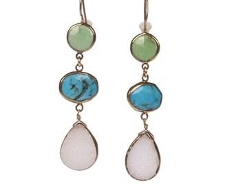 Green Agate, Blue Turquoise, Druzy Quartz Drop Earrings