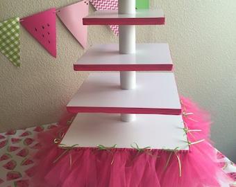 Pink & Green Tutu Cupcake Tower
