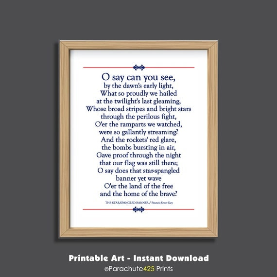 picture about Words to the Star Spangled Banner Printable named Huge Star Spangled Banner Within Terms Track record