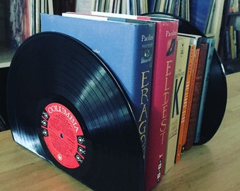 Vinyl Bookends Pair Set - Made with Vintage 12 inch LP Records - Book Holder