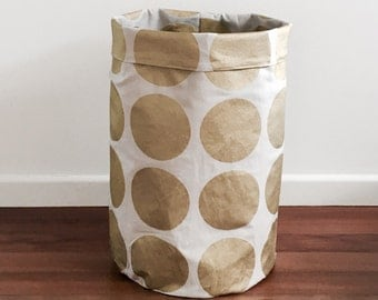 Large Gold metallic spot laundry hamper , toy basket, toy hamper, fabric basket, storage basket, storage bin, round large fabric basket.