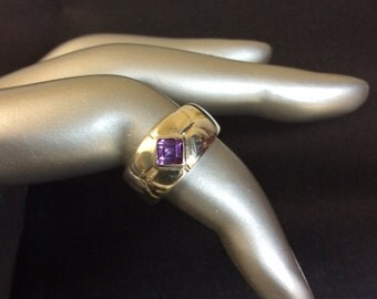 Vintage Amethyst Sterling Silver Ring Size 6