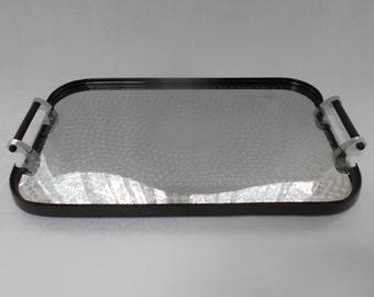 Art Deco Chrome Rectangular Tray - Black Bakelite Handles Wiles Manufacturing Adelaide