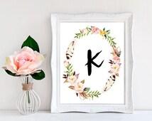 Printable Monogram Letter K Wall Art Boho Bedroom Decor Boho print Letter K Wall Decor Letter K Print Cute monogram Girly art print CUSTOM